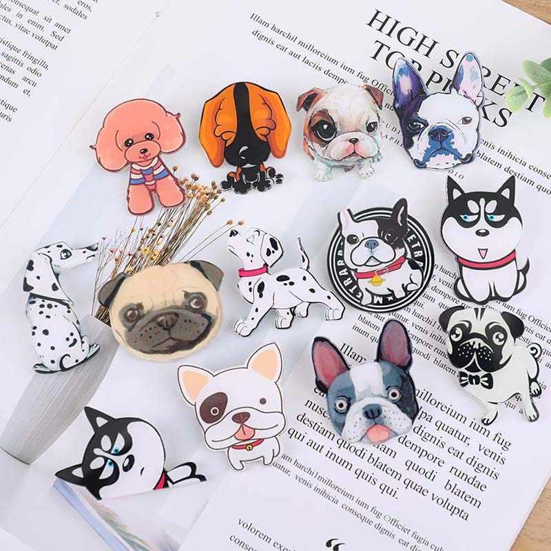 Lindo perro mascota insignia pines dibujos animados cachorro Husky Corgi Bulldog broches mujeres chaquetas camisa Demin mochila esmalte pines joyería regalo