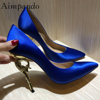 2019 Sexy Hippocampus Strange High Heel Shoes Woman Pointed Toe Luxury Satin Silk Royal Blue Pumps Women Wedding Shoes