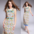 High Quality 2016 Summer And Autumn New Fashion Catwalk Stretch Backless Blue And White Printing Slim Sleeveless Dress Women
