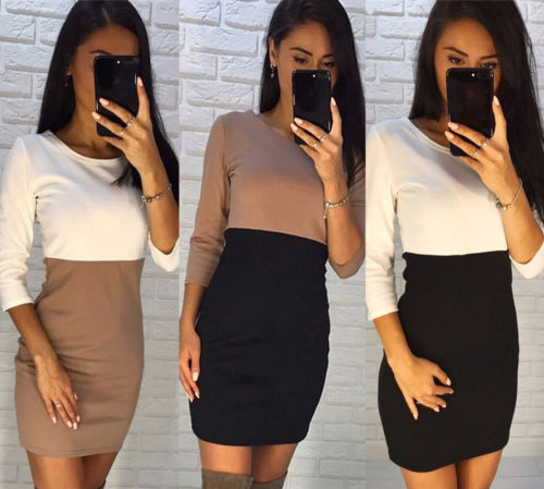 Hot Sexy 2020 New Fashion Women Long Sleeve Bodycon Jumper Dress Casual Party Patchwork Mini Dress