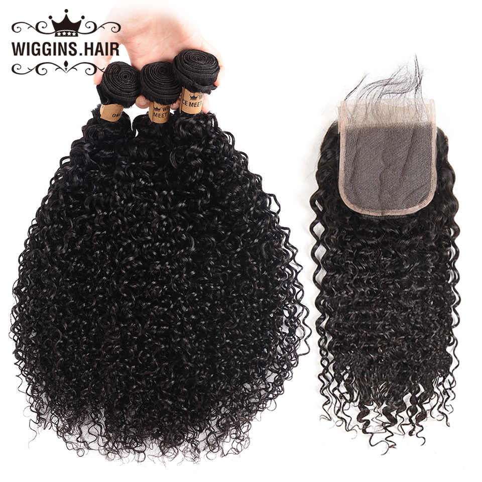 Wiggins 3 Bundles Malaysian Curly Hair 100% Human Hair Bundles With Closure With Baby Hair Natural Black Remy Hair Weave