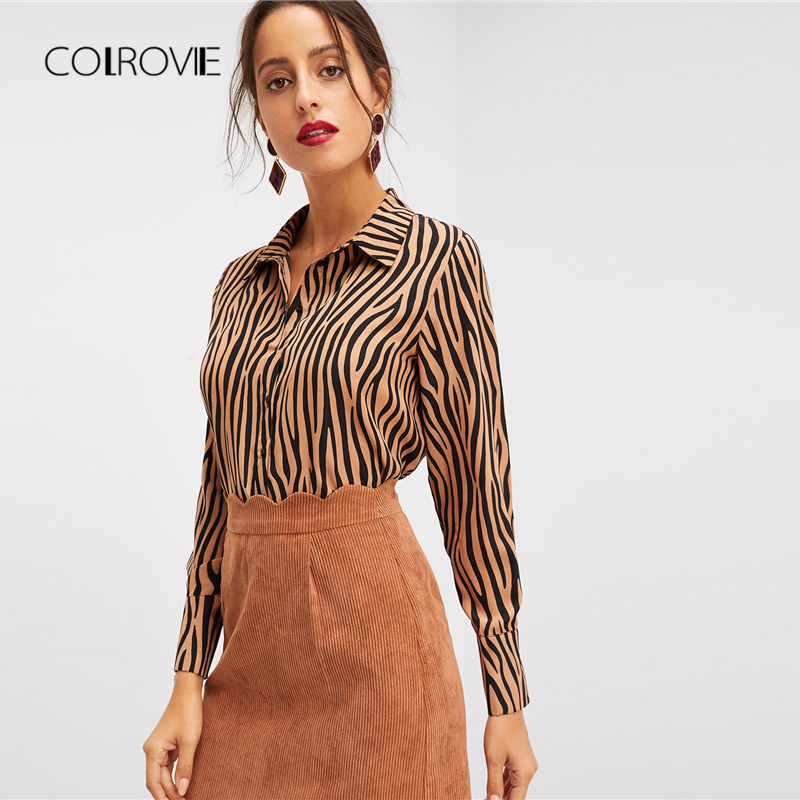 COLROVIE Multicolor Button Up Dip Hem Casual   Shirt   2018 Long Sleeve Ladies   Blouse     Shirt   Women Offfice Elegant Women   Shirts
