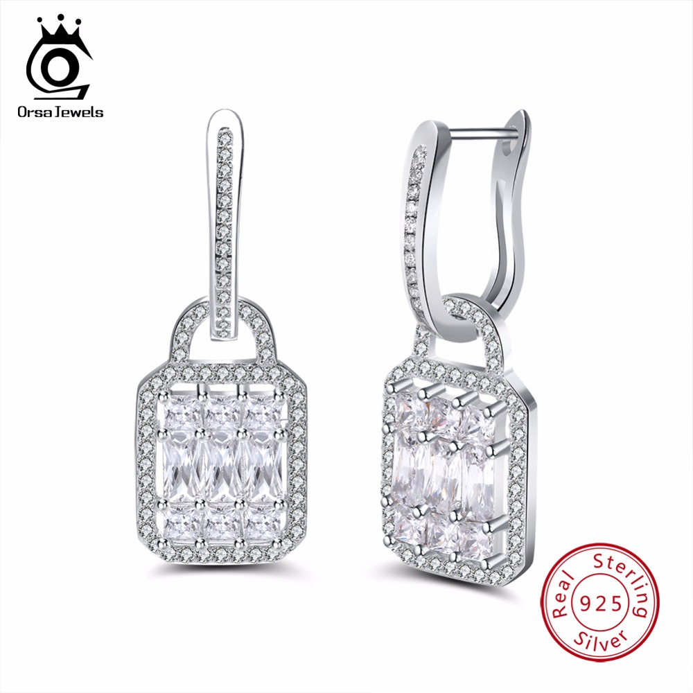 ORSA JEWELS Sterling Silver 925 Earrings Lock Shape With Paved Big Stone Shinny Hoop Earrings Party