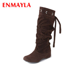 цена ENMAYER 4 color half boots women lady winter boots footwear wedge shoes fashion sexy snow boots warm EUR size 34-43 онлайн в 2017 году