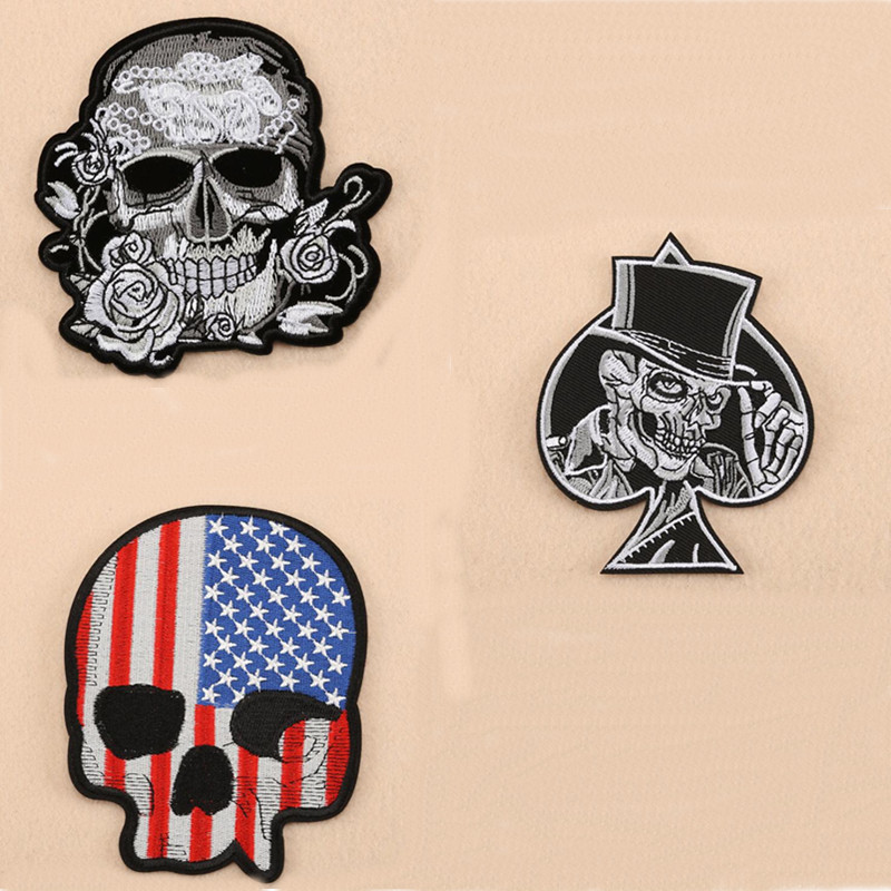 Three Skull Man Flag Badge Patch For Clothing Embroidered Iron On Patches Embroidery Sew On DIY Coat Shoes Accessories