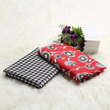 Europe style cotton cloth patchwork fabric White flower on red background and tartan design fabric for