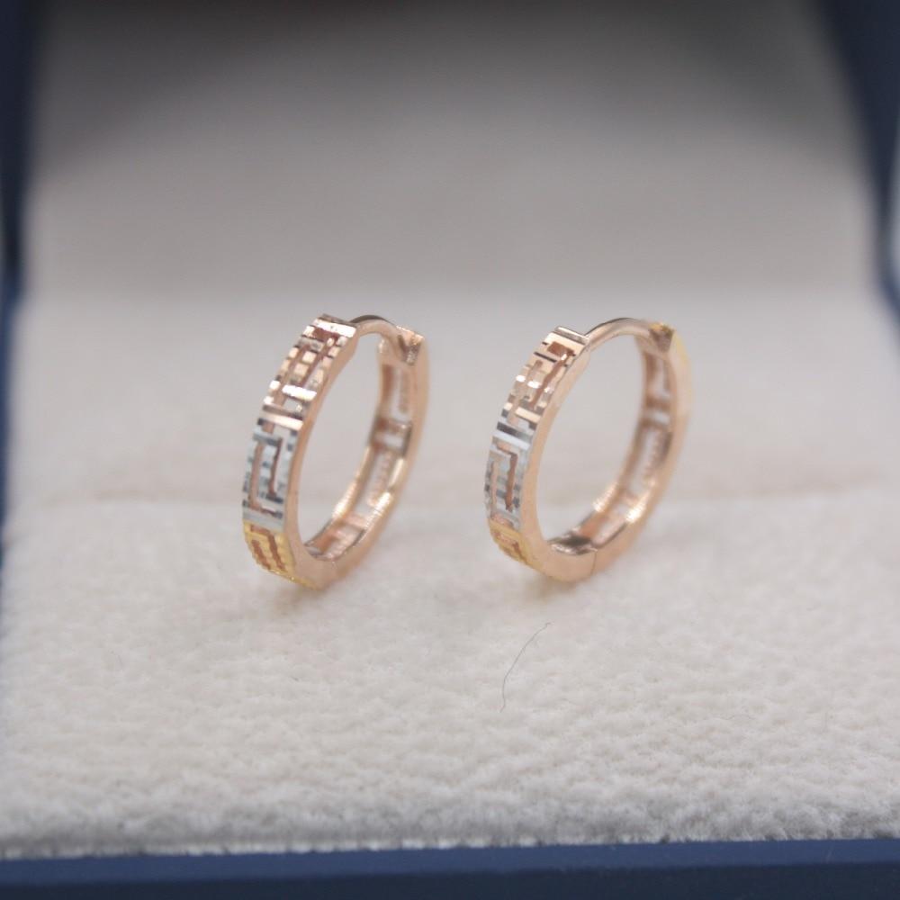 Solide 18 K multi-tons or boucles d'oreilles ensemble AU750 creux motif femmes cadeau mignon boucles d'oreilles 1.6-1.9g bijoux de tous les jours meilleur cadeau
