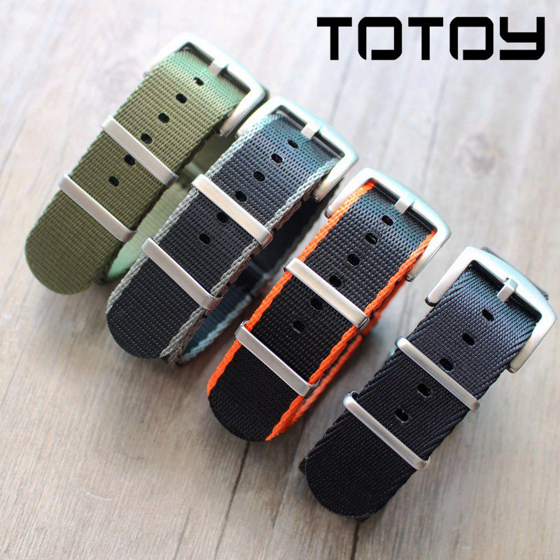 TOTOY Woven Smooth Nylon Strap, 18MM 20MM 22MM 24MM  Black Green Gray Brack Nato Straps, Sliver Buckle/black Buckle Wathbands