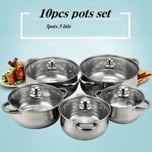 free shipping casserole pots set kitchen utensil 16/18/20/22/24cm cooking tools inox utensil