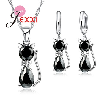 Fast Shipping Retail Romantic Engagement Silver Cute Cat Jewelry Sets Necklace Earrings With Austrian Crystal For Women 2018 new arrival exaggerated big necklace and earrings jewelry sets austrian crystal for wedding or party ethnic free shipping