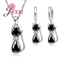 Fast Shipping Retail Romantic Engagement Silver Cute Cat Jewelry Sets Necklace Earrings With Austrian Crystal For Women(China)