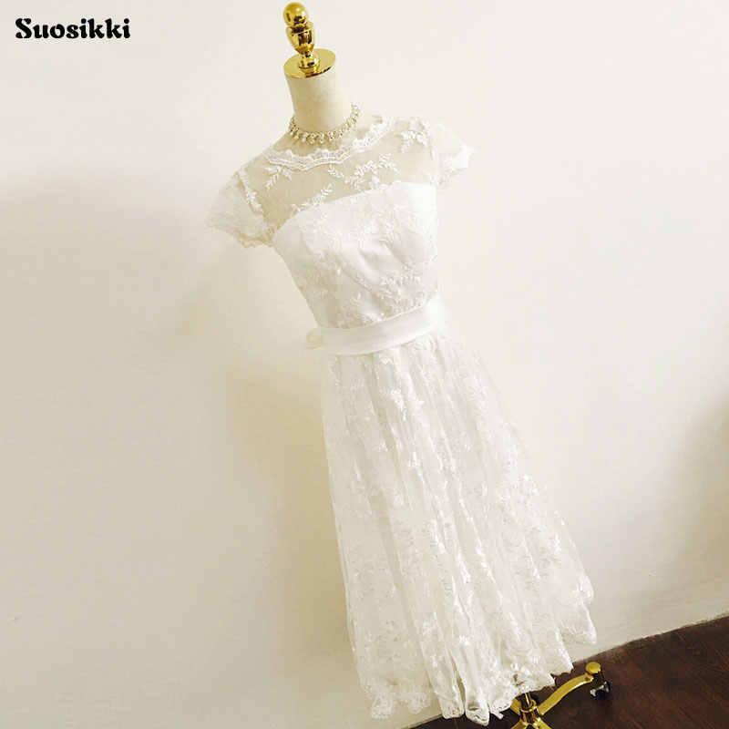 Suosikki חתונה שמלות 2018 בציר בתוספת גודל סקופ תחרה קצר שמלות כלה גן הכלה שמלה
