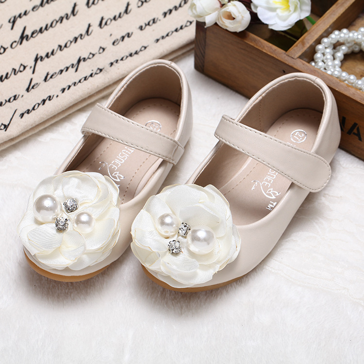 Girls Leather Shoes Kerea Children Pearls Flowers Black Red Pink Dress Shoes Kids Princess Students School Shoes wedding party s