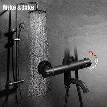 Ensemble de douche thermostatique de luxe, robinet de douche noir chaud et froid, mitigeur thermostatique pour baignoire douche MJ988