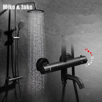 Luxury black thermostatic shower set shower faucet hot and cold black Shower faucet Bathtub thermostatic shower mixer MJ988