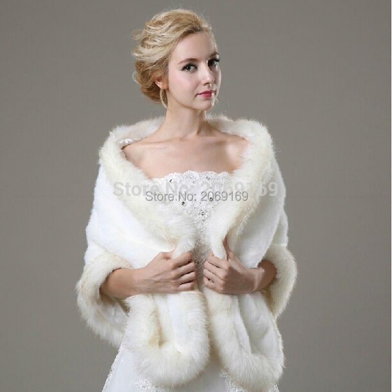 Sarahbridal 2017 Gorgeous Rabbit Fur Wedding Jacket Wraps Faux Fur White Wraps Bridal Coat For Wedding Party Dress Winter