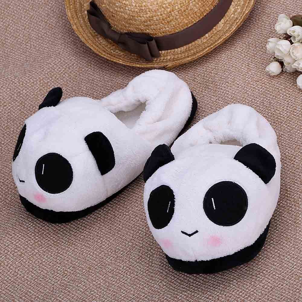 COSW 2X Slipper Indoor Novelty for Lovers Winter Warm Lovely Cartoon Panda Face Soft Plush Household Thermal Shoes 26cm/10.24in