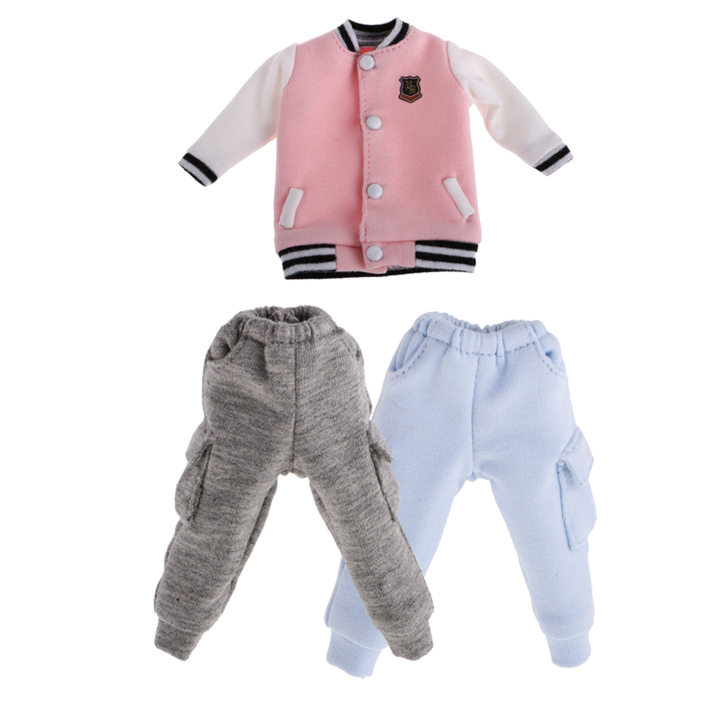 1/6 Doll Baseball Top Coat/Casual Pants Trouser with Pocket for 12'' Blythe Doll Dollfle Dolls Clothes Dress Up Doll Accessories 1pc long sleeve shirt for blythe dolls base shirt clothes for barbie blouse momoko doll clothes 1 6 doll accessories