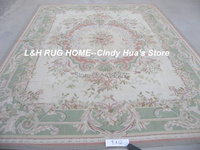 Free shipping 9'x12' Aubusson rugs woolen carpets green design Shabby Chic carpets all kinds of rugs in our store