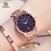 Fashion Luxury GUOU Watch Women Watch Reloj Mujer Stainless Steel Quality Diamond Ladies Quartz Watch Women Rhinestone Watches