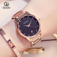 ファッション高級guou腕時計女性腕時計リロイmujerステンレス鋼品質ダイヤモンドレディースクォーツ腕時計女性ラインストーン腕時計