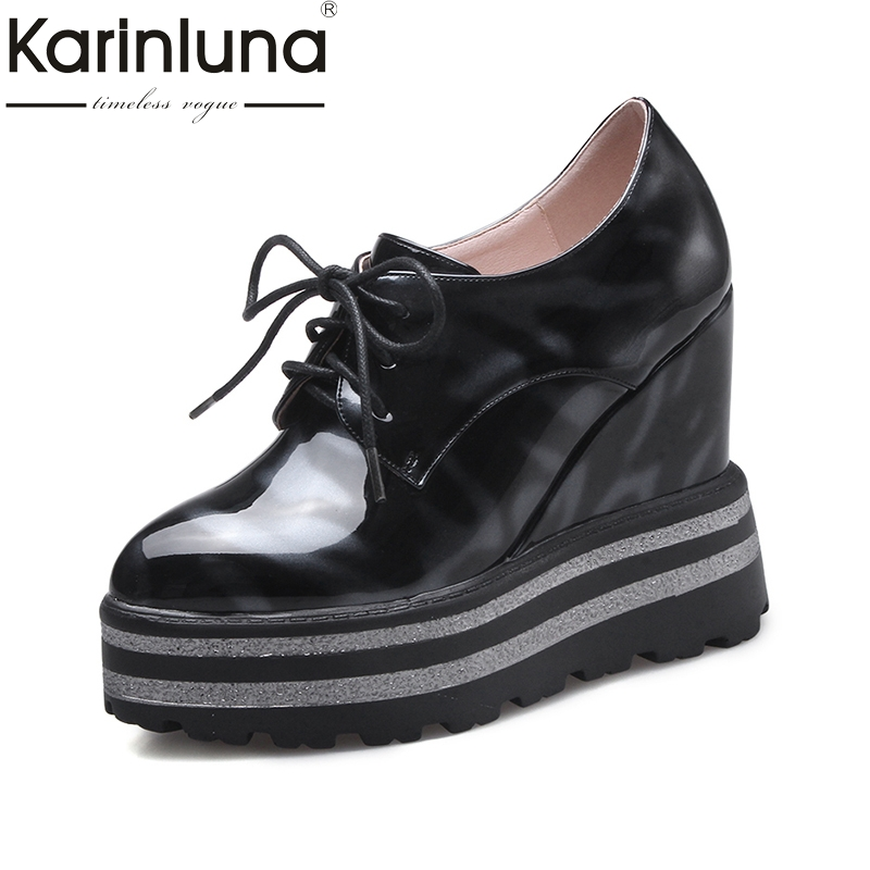 Karinluna 2018 High Quality Round Toe Lace Up Women Pumps Platform Wedge High Heels Shoes Woman Comfortable Fashion Shoes big size high heels round toe women platform shoes cool casual white lace wedge black creepers medium pumps mesh chinese fashion