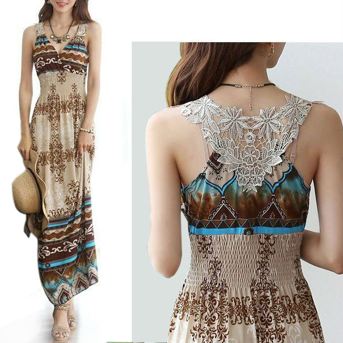 bohemian summer maxi dress, print women dresses, - VICSEE International Apparel Ltd store