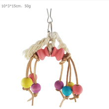 1 Pcs Parrot bird toy 10*3*15cm Size hook rope Colored wood beads Bird play bite toys cage accessories Supplies