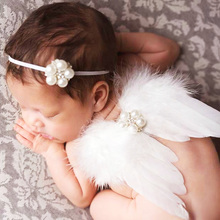 Newborn pearl Headwear Kids Angel Fairy Feather Wing Hairbands Costume Photo Prop for Gift Present Party