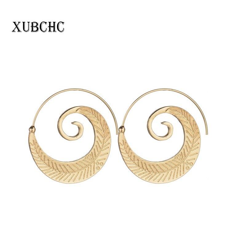 XUBCHC Silver Gold 2 Colors Trendy Punk Round Hoop Women Swirl Earrings Lady Girl Female Stud Earring Fashion Party Jewelry
