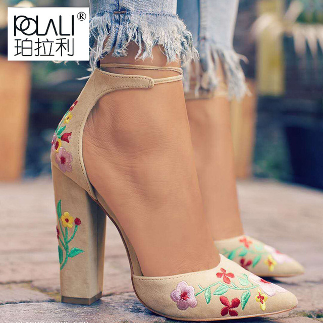 POLALI  Ladies Party Printed Flower Bandage Strap High Heels Pumps Shoes Women Embrodary Pointed Toe Thin Heels Stiletto Shoes