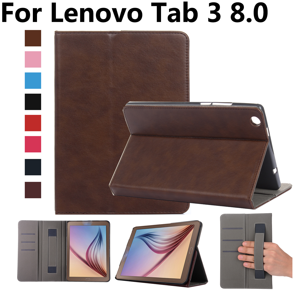 Hand Hold Premium Leather Case For Lenovo Tab3 8 Cover TB3-850F TB3-850M Stand Magnetic Smart Case for Lenovo Tab3 8 8.0 inch