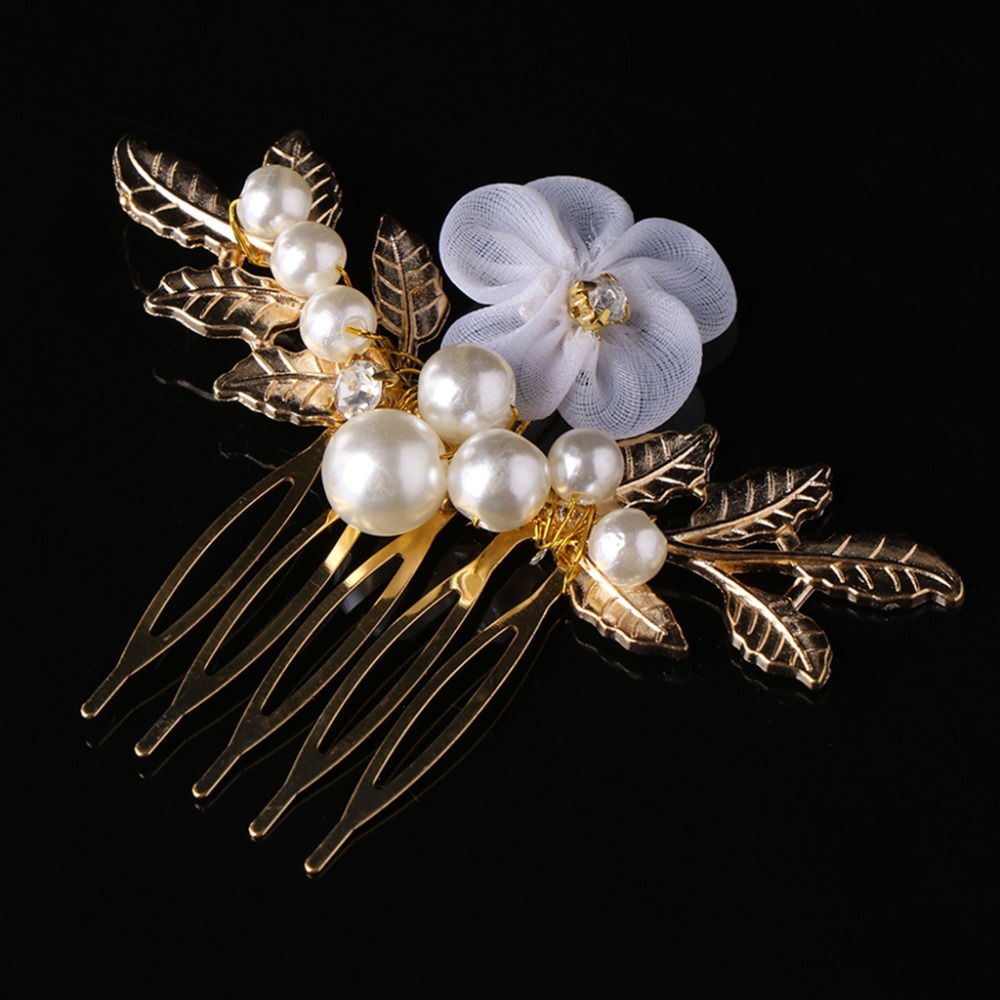 Gold Leaf Hair Comb Headwear Pins Luxury  Wedding Headpiece Vintage Bridal Hair Piece Accessories Handmade