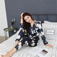 weiqiya Autumn Winter 2018 New Women Pyjamas Silk Set Female Pajamas Set NightSuit Sleepwear Sets Long Pant Women Lingerie