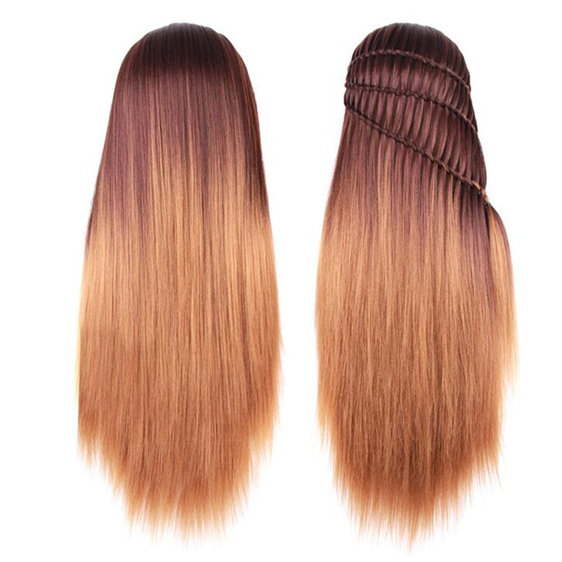 New Style 28 Inch Mannequin Head With Ombre Kanekalon Synthetic Hair Long Thick Training Head For Braid Hairdressing Dummy Head