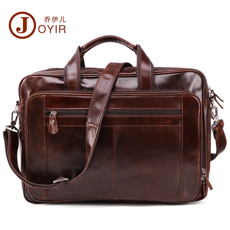 Joyir 2018 New Fashion Cowhide Male Commercial Briefcase Real Leather Vintage Men's Laptop Bag Casual Pure Color Business Bag