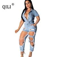 QILI 2019 Autumn Women Denim Jumpsuits Fashion Hole Rompers Short Sleeve Button Jeans Jumpsuit Womens Overalls