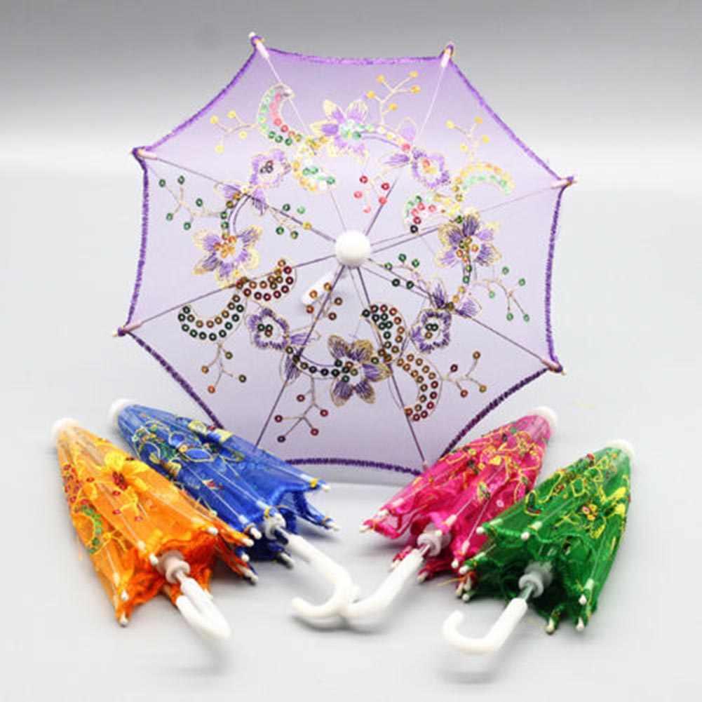 1 шт. случайный цвет! Мини детский зонт детский танцевальный реквизит Craft Зонт с вышивкой этап зонтик для выступлений