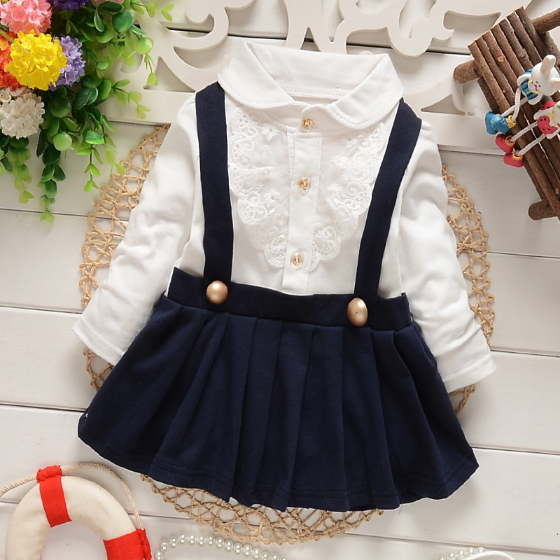 2016 Fashion Autumn Long Sleeve lace Bow cute baby Party Birthday girls kids Children dresses, princess infant Dress