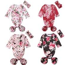 Спальный мешок с длинными рукавами и цветочным принтом для новорожденных девочек, спальный мешок, пеленка+ повязка на голову для детей 0-6 месяцев