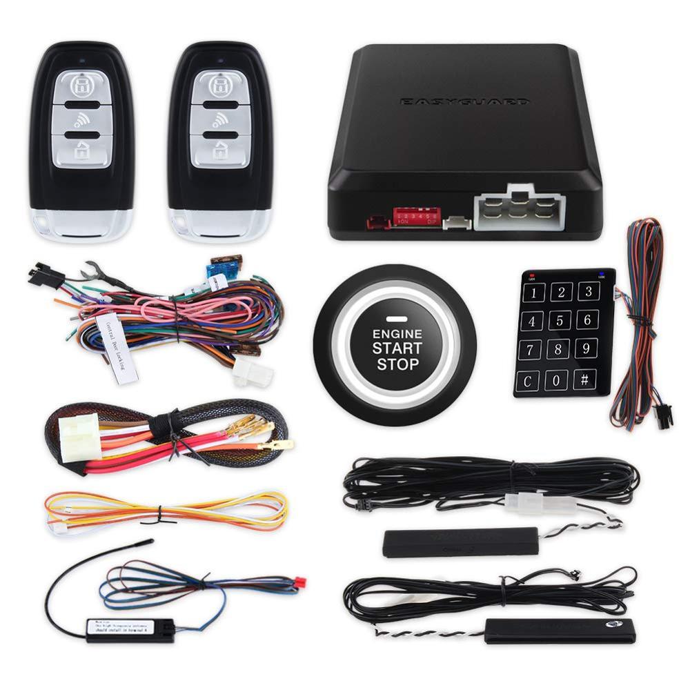 Easyguard code de roulement clé intelligente entrée sans clé système d'alarme de voiture démarrage à distance arrêt bouton poussoir démarrage tactile mot de passe entrée DC12V