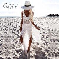 Ordifree 2018 Summer Women Long Chiffon Dress Sleeveless Backless V Neck Split Sexy Maxi Tunic Beach