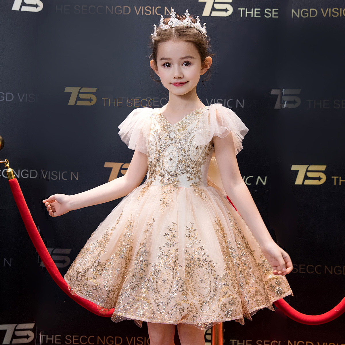Gold Bling Sequined Flower Girl Dresses for Wedding Evening Gowns Flare Sleeve V neck Kids Pageant