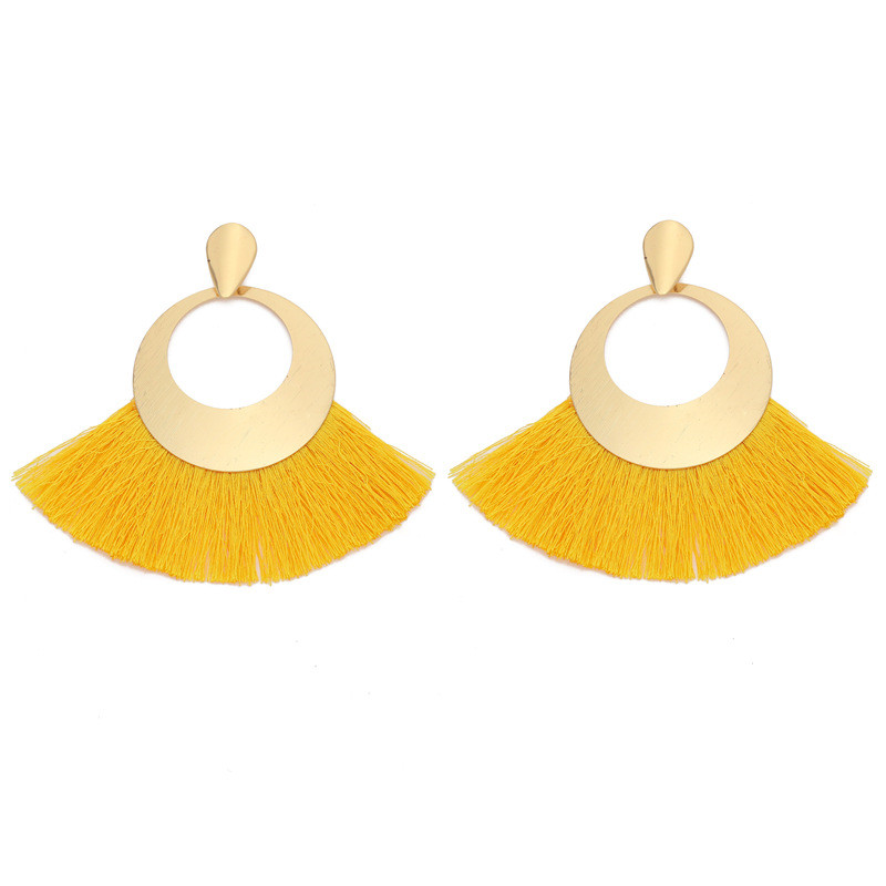 17 Color Boho Hollow Round Tassel Earrings For Women Gold Color Arrow Sequins Sector Ribbon Drop Earrings For Girl Party Gift in Drop Earrings from Jewelry Accessories