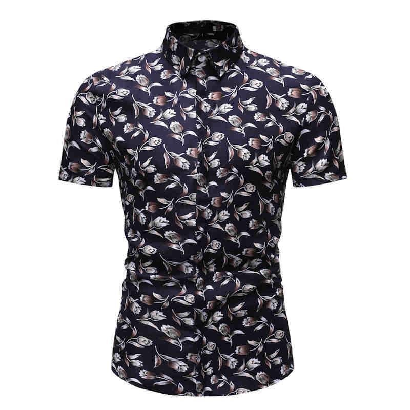 New Model Shirts For Men Floral Casual Blouse Men Summer Hawaiian Shirt Stay Folder Flower Short Sleeve Gray Black Navy