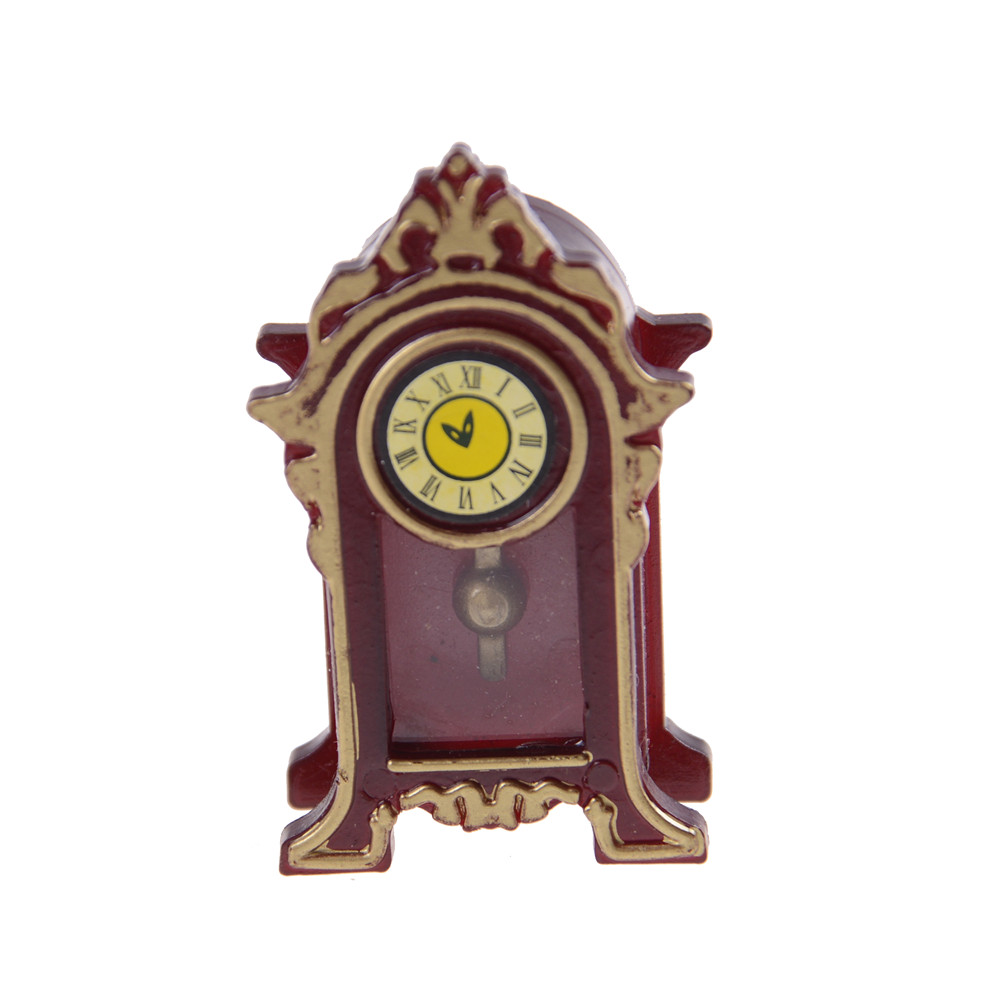 Brand New Pretend Play Furniture Toys Doll House Decoration 1:12 Dollhouse Miniature Wooden Classical Desk Clock Classic Toys