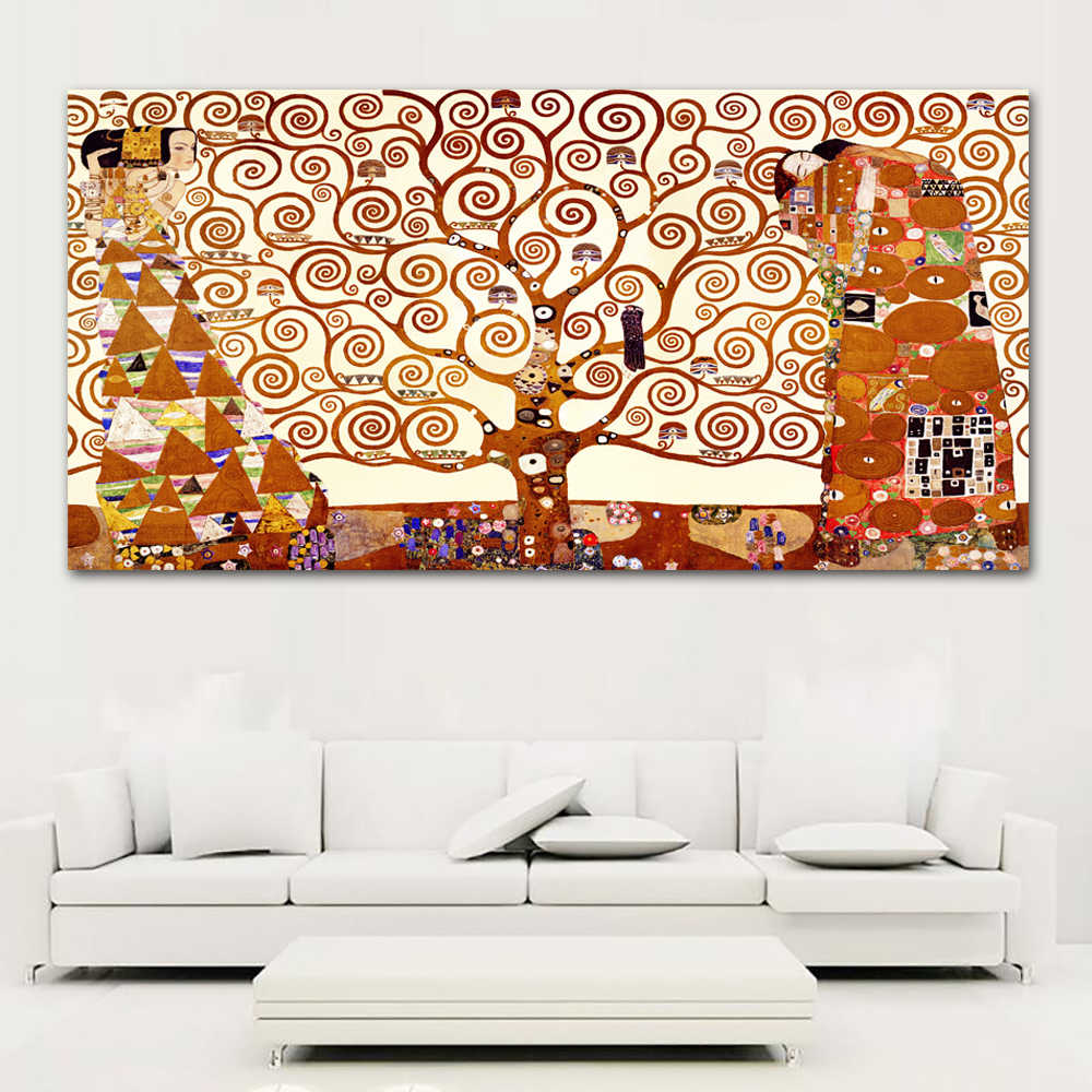 Canvas Art Tree Of Life Wall Pictures For Living Room Gustav Klimt Painting Home Decor Printed Frameless free shipping