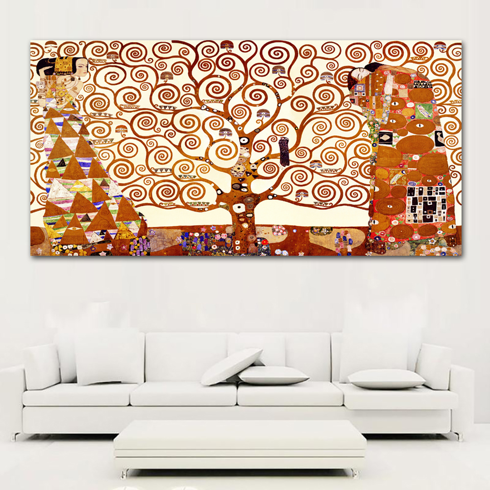 Zz1597 Wall Art Decoration Painting Gustav Klimt Big Tree: Canvas Art Tree Of Life Wall Pictures For Living Room