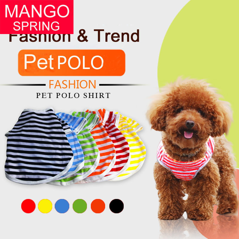 2016 New Factory direct pet clothes dog clothes dog vest wholesale spot striped shirt spring and summer dog clothes