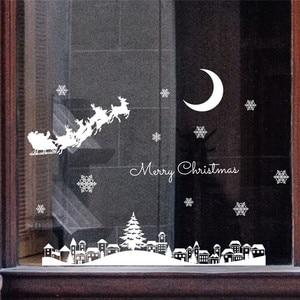 Image 3 - السنة الجديدة ملصقات عيد الميلاد للنوافذ مطعم مول الديكور الثلوج الزجاج نافذة للإزالة عيد الميلاد زخرفة #3o24